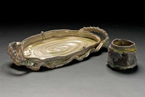 tumbler and tray, 2008--Porcelain, wood-fired ^10